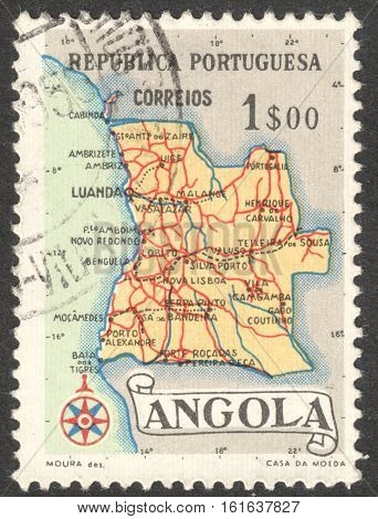 MOSCOW RUSSIA - CIRCA NOVEMBER 2016: a post stamp printed in ANGOLA shows a map of Angola the series