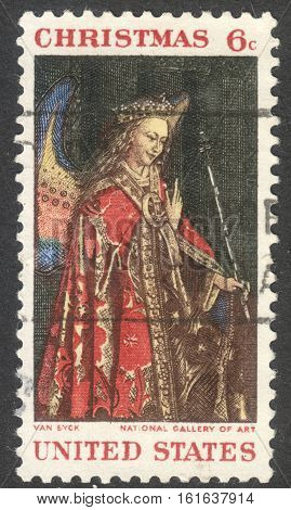 MOSCOW RUSSIA - CIRCA NOVEMBER 2016: a post stamp printed in the USA shows Angel Gabriel from