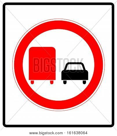 Road sign. Prohibitory sign. No overtaking by heavy goods vehicles. Red circle isolated on white. Traffic symbol label