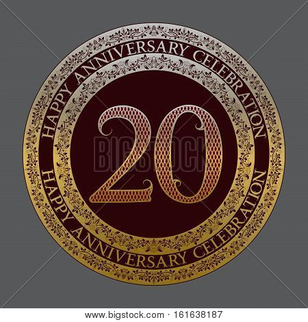 Twentieth happy anniversary celebration logo symbol. Golden maroon medal emblem in vintage style.