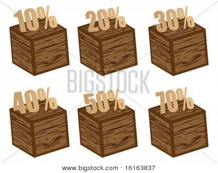 discount icons wooden textures