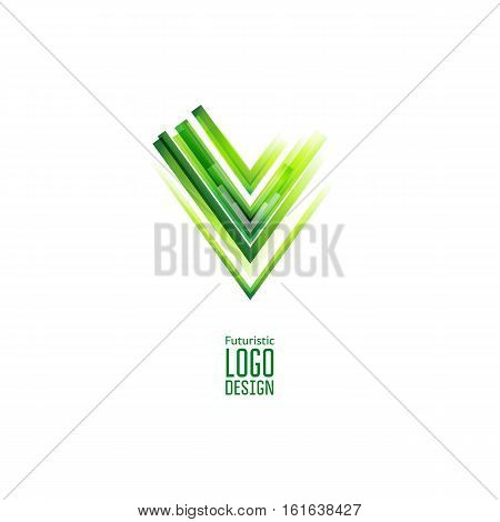 Modern abstract futuristic logo. Geometric Chek design, created with overlapping polygonal shapes. VEctor design. Triangle form.