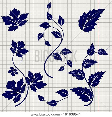 Ball pen drawing branches and leaves on notebook background. Vector illustration