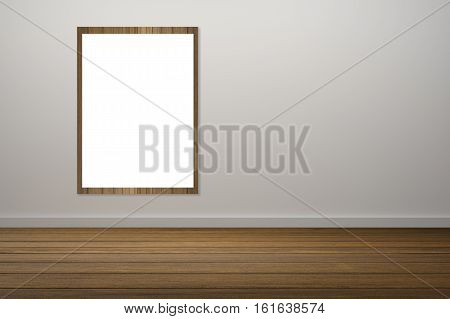 White Poster And Wooden Frame Of Picture Haning In Empty Room.space For Your Text And Picture.produc