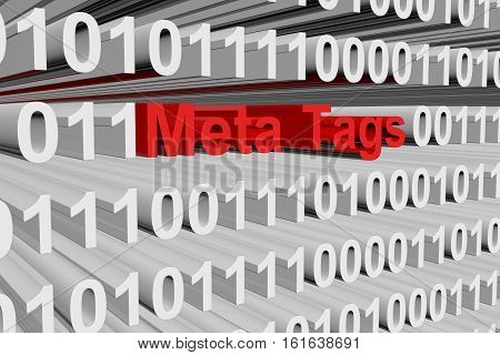 Meta Tags in the form of binary code, 3D illustration