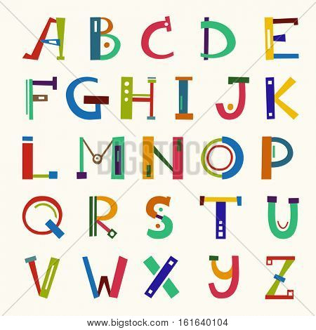 Colorful ABC Funny Letters. Vector Hand Drawn Illustration. Children English Alphabet