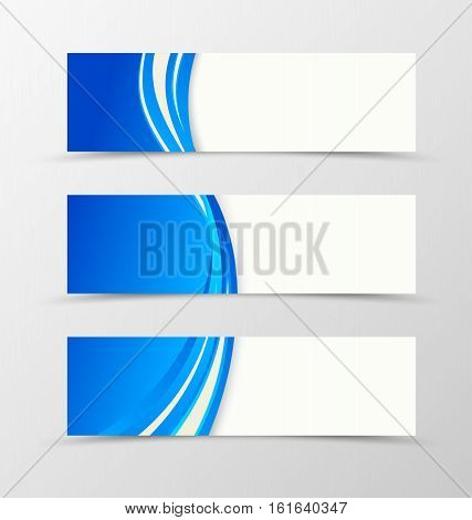 Set of header banner dynamic design with blue lines in wavy bright style. Vector illustration