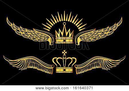 Set of golden winged crowns logos black background. Golden luxury royal emblem. Vector illustration