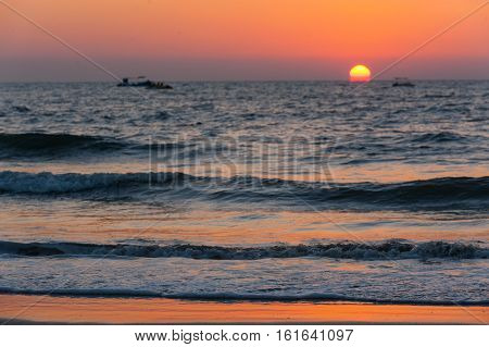 Beautiful sunset on the sea in India.