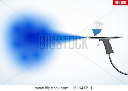 Airbrush with paint spray. Car Painting or artwork. Makeup airbrush. Editable Vector illustration Isolated on white background.