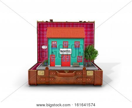 Hostel Building is located in a retro leather suitcase on a white background. 3D illustration.