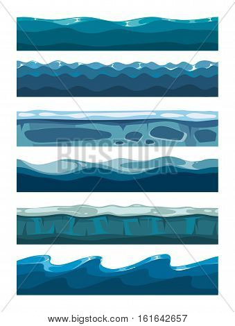 Set of sea backgrounds for mobile games apps. Collection of water surface illustration