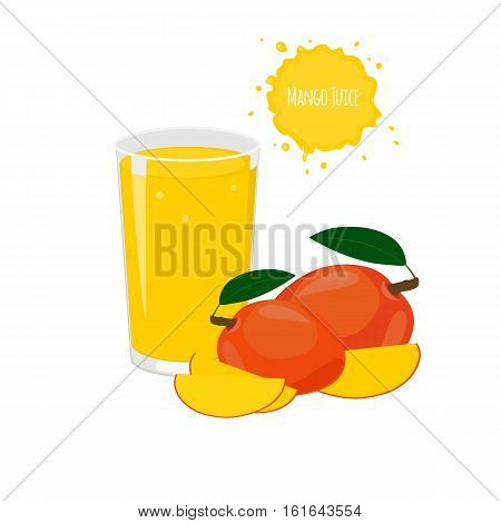 Vector mango juice with mango and juicy slices for package design and labels. Design elements. Exotic fruits. Fruit juice.