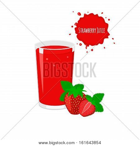 Vector strawberry juice with ripe strawberry for package design and labels. Design elements. Strawberry juice.