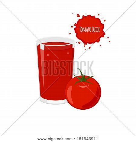 Vector tomato juice with ripe tomato for package design and labels. Design elements. Tomato juice.