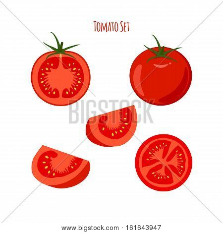 A set of vector juicy tomatoes and tomato slices for package design and labels. Design elements.