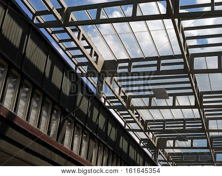 Industrial interiors - steelworks  in large premise with transparent ceiling