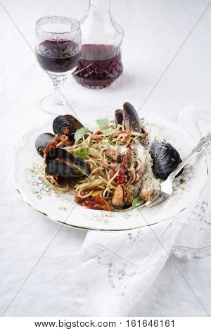 Spaghetti with blue Mussels on Plate