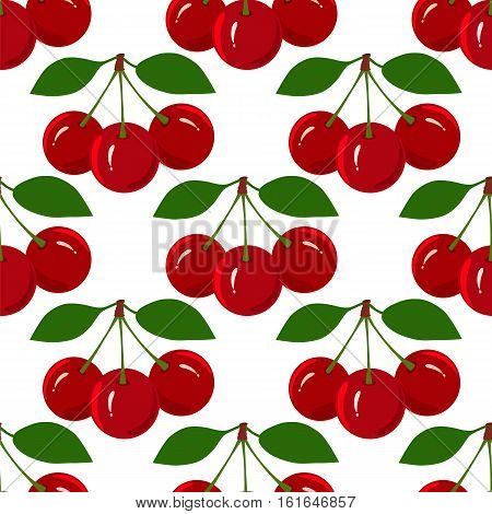 Design seamless pattern with juicy ripe cherry fruit