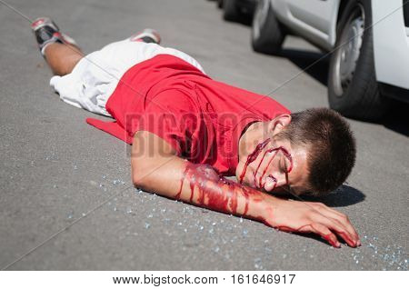 Car Accident Victim On The Street