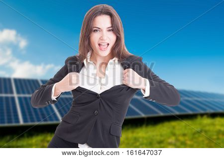 Attractive Female At Solar Power Station