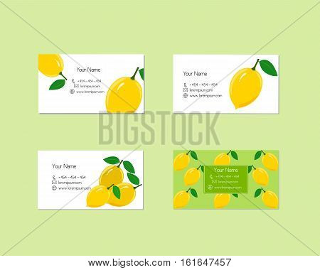 Design business cards with ripe juicy lemon fruit for company