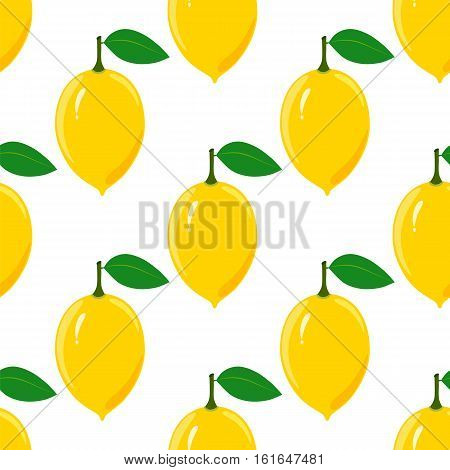 Seamless pattern with ripe juicy lemon fruit