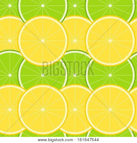 Seamless pattern with ripe juicy lemon and lime fruit.