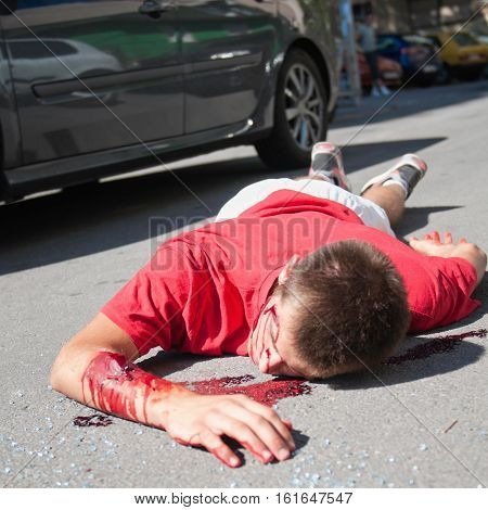 Traffic accident with lethal consequences, color image