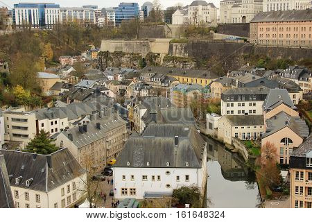 Residential quarter and river in Luxembourg city