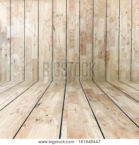 Room with a wooden floor and walls.