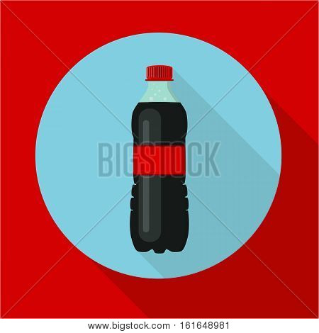 Bottle of soda water. Cola bottle. Tasty refreshing drink. Flat modern style long shadow. Vector illustration