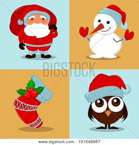 Cute funny Snowman owlet in Christmas hat empty Christmas sock with holly berry and Santa Claus with a bag full of gifts. Set of vector cartoon illustrations for winter holidays and New Year