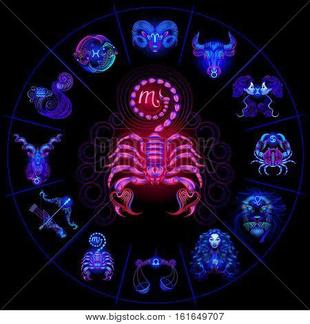 Set Neon Zodiac Signs. Scorpio. Vector design element isolated on background.
