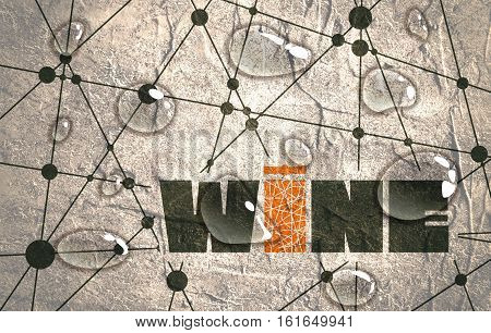 Suitable for poster, promotional leaflet, invitation, banner or magazine cover. Molecule And Communication Background. Concrete texture. Connected lines with dots. Wine text. Transparent water drops.
