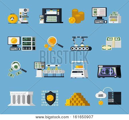 Money manufacturing icons set with finance symbols flat isolated vector illustration