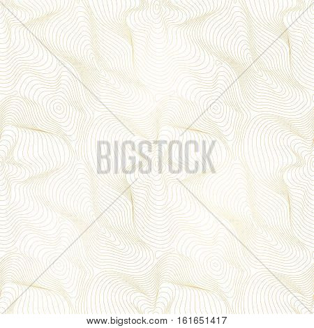 Vector golden texture, gold lines seamless pattern, curved metal foil background with 3D visual effect. Abstract dynamic rippled surface, illusion of movement, curvature. Design for prints, digital, textile, web. Modern style illustration