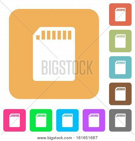 SD memory card icons on rounded square vivid color backgrounds.