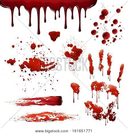 Blood spatters realistic bloodstains patterns set of smears splashes drippings drops and handprint on white background vector illustration