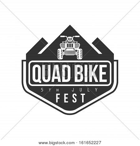 Quad Bike Festival Label Design Black And White Template With Text For Quadricycle Rental Business. Monochrome Logo With Off Road Bike Silhouette Vector Illustration.