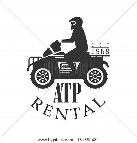 ATP Quad Bike For Rent Label Design Black And White Template With Text For Quadricycle Rental Business. Monochrome Logo With Off Road Bike Silhouette Vector Illustration.