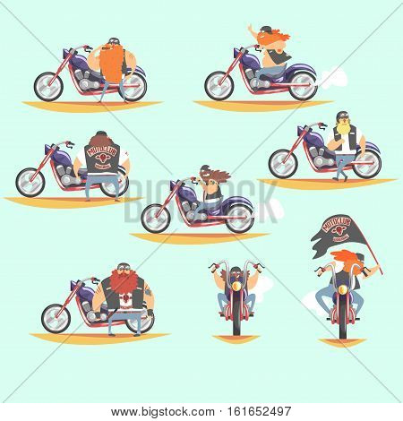 Outlaw Biker Club Members On Heavy Choppers With Leather Vests And Long Beards Set Of Cartoon Characters. Vector Illustrations With Beardy Dangerous Looking Bikers On Motorcycles With Subculture Attributes.
