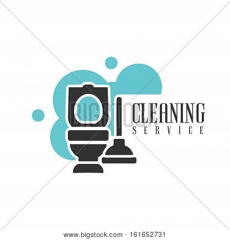 House And Office Cleaning Service Hire Logo Template With Toilet And Plunger For Professional Cleaners Help For The Housekeeping.Vector Label In Blue And Black Color With Cleanup Elements.