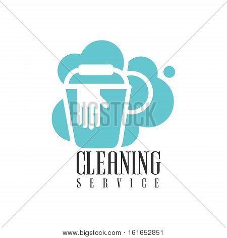 House And Office Cleaning Service Hire Logo Template With Bucket And Gloves For Professional Cleaners Help For The Housekeeping.Vector Label In Blue And White Color With Cleanup Elements.