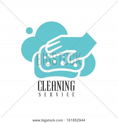 House And Office Cleaning Service Hire Logo Template With Hand And Sponge For Professional Cleaners Help For The Housekeeping.Vector Label In Blue And White Color With Cleanup Elements.