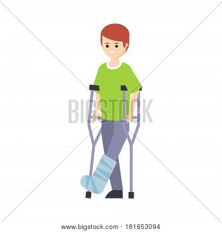 Physically Handicapped Person Living Full Happy Life With Disability Illustration With Smiling Guy With Broken Leg On Crouches. Disabled Cartoon Character With Physical Impairment Vector Drawing.