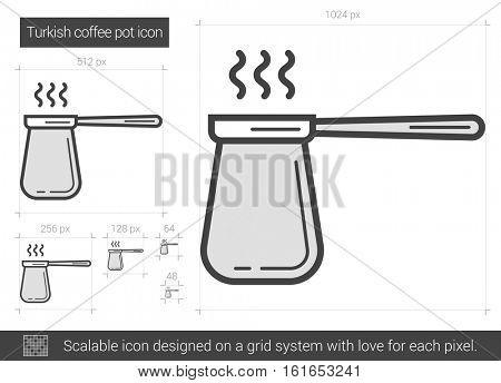Turkish coffee pot vector line icon isolated on white background. Turkish coffee pot line icon for infographic, website or app. Scalable icon designed on a grid system.