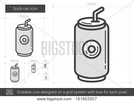 Soda can vector line icon isolated on white background. Soda can line icon for infographic, website or app. Scalable icon designed on a grid system.