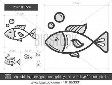 Raw fish vector line icon isolated on white background. Raw fish line icon for infographic, website or app. Scalable icon designed on a grid system.