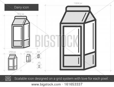 Dairy vector line icon isolated on white background. Dairy line icon for infographic, website or app. Scalable icon designed on a grid system.